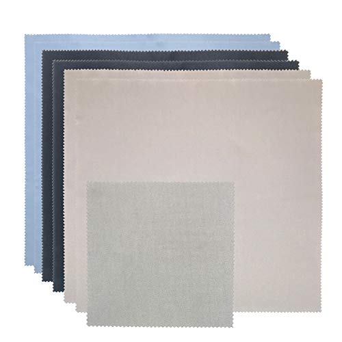 """Microfiber Cleaning Cloths Large 12""""x12"""" Lint-Free Microfiber Cloths for Cleaning Electronic Device Screens,Tablets, Camera, Laptops, Phone, Glasses, TV Screens, Monitor (12""""x12"""", 2Black&2Gray&2Blue)"""