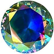 Tripact 80mm Original Translucent Diamond Light Rainbow Crystal Paperweight 3.25 Inch