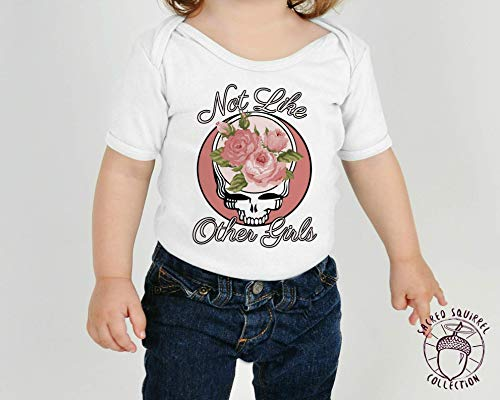 Grateful Dead Not Like the Other Girls Steal Your Face Flowers Baby Bodysuit or Toddler Kids T-Shirt Dead Head Christmas Gift Little Girl Outfit -