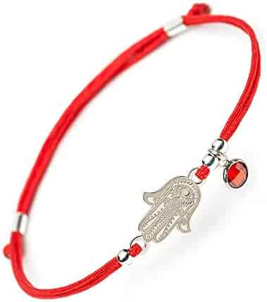 20bdaede0 Hamsa Hand of Fatima Silver Bracelet - Evil Eye Protection Sterling Silver  Charm Jewelry Lucky Success