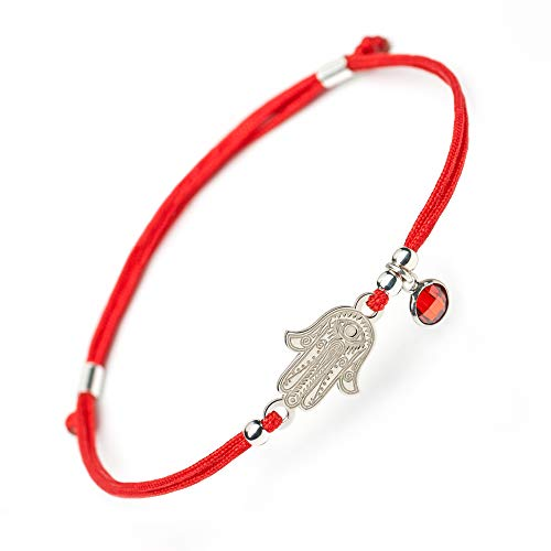 Ceramic Women Pendant - Women Adjustable 925 Sterling Silver Bracelet - Hamsa Kabbalah Evil Eye Protection Red String Jewish Amulet Pendant - Protection Jewelry Lucky, Success - Bracelets for Women Girl Kids by Solomiya JL