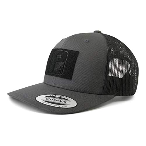 Pull Patch Tactical Hat | Authentic Snapback 2-Tone Curved Bill Trucker Cap | 2x3 in Hook and Loop Surface to Attach Morale Patches | 6 Panel | Charcoal Grey and Black | Free US Flag Patch Included (Tactical Hat With Patch)
