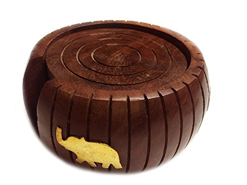 Khandekar (with device of K) Barrel Shaped Wooden Tea Coaster - Set of 6 Drink Coaster Suitable for Wine Glasses, Beer Bottles, Whiskey Glasses and Any Hot and Cold Drinks from Khandekar (with device of K)