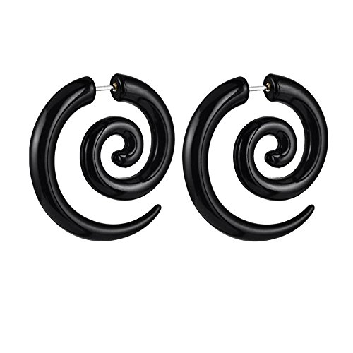 Wicemoon Noir Spirale Split Acrylique Boucles d'oreilles Boucles d'oreilles Pendantes Mode Populaire Bijoux Clous d'oreille