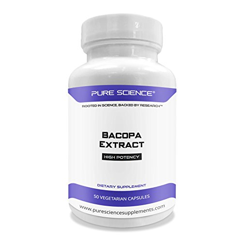 Bacopa Extract - Pure Science Bacopa Monnieri Extract 600mg (S.E. 50% Bacosides 320mg & Bacopa Monnieri Powder 280mg) – Improves Memory and Attention, Promotes Relaxation - Non Gluten - 50 Vegetarian Capsules