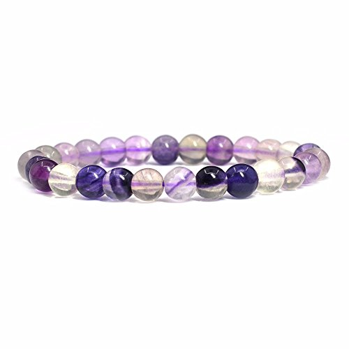 Natural Multi-color Purple Fluorite Gemstone 8mm Round Beads Stretch Bracelet 7