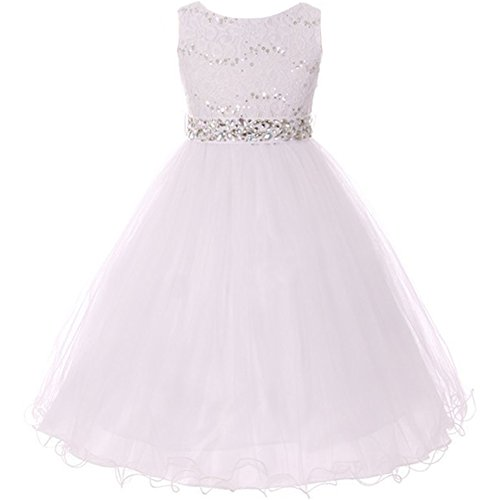 Big Girls Sleeveless Dress Glitters Sequined Bodice Double Layer Tulle Skirt Rhinestones Sash Flower Girl Dress White - Size (Christmas Pageant Dresses)
