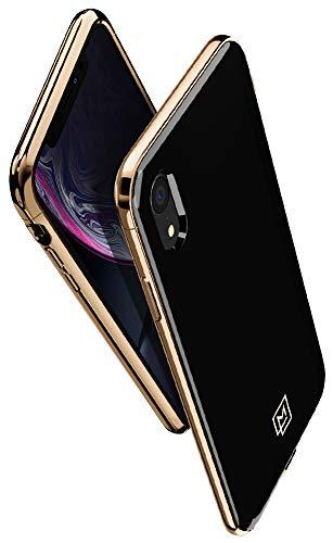 退屈な剃る付属品【Spigen x LA MANON】 スマホケース iPhone XR ケース 6.1インチ 対応 軽量 薄型 光沢 艶 おしゃれ シック デザイン Qi充電 ワイヤレス充電 エテュイ 064CS25311 (ゴールド ?ブラック)