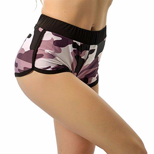 QIYUN.Z Las Mujeres De Camuflaje Gris Atractivo Cortocircuitos De Los Deportes De Fitness Yoga De La Gimnasia Que Ejecuta Pantalones Cortos Gris