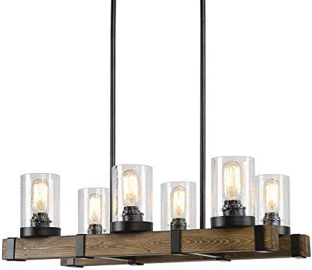 LALUZ Kitchen Light Fixtures,6-Lights Dining Room Lighting Fixtures Hanging