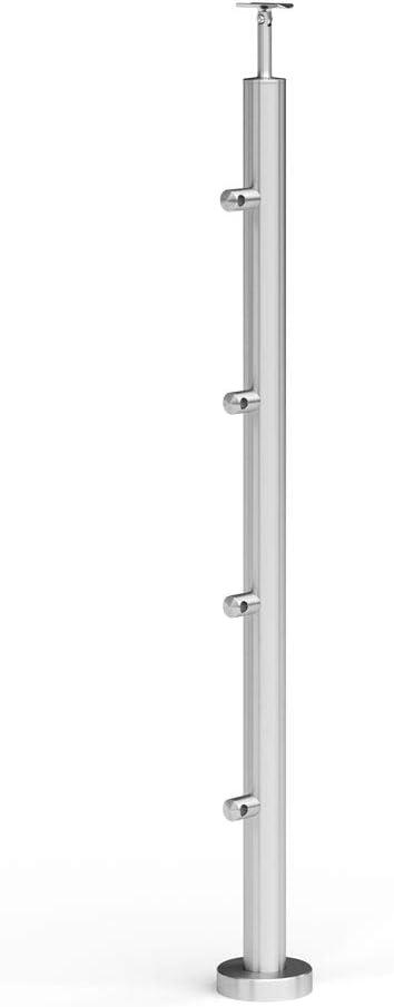 Acero inoxidable Completo barandilla postes postes de 42,4S012615–Soporte transversal barandilla de diámetro 45Horizontal varillas Diámetro 12y pasamanos Soporte con articulación