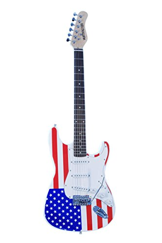 Full Size 39″ Inch AMERICAN FLAG (Red White and Blue) Electric Guitar & Gig Bag, Strap, Cable, & DirectlyCheap(TM) Medium Guitar Pick