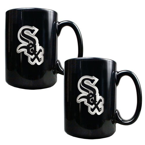 MLB Chicago White Sox Two Piece Black Ceramic Mug Set - Primary Logo