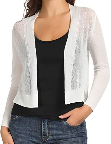 Womens Sheer Wrap Shrugs Front Open Knit Cardigans Long Sleeve White M