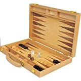 "Da Vinci 15"" Inlaid Wood Backgammon Game Set"