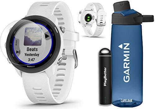 Garmin Forerunner 245 Music (White) Running GPS Watch Runners Gift Bundle | +Garmin Water Bottle, HD Screen Protectors & PlayBetter Portable Charger | Music & Spotify, PulseOx 2019 010-02120-21