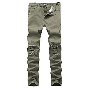 Men's Causal Slim Fit Stretch Ripped Skinny Denim Jeans