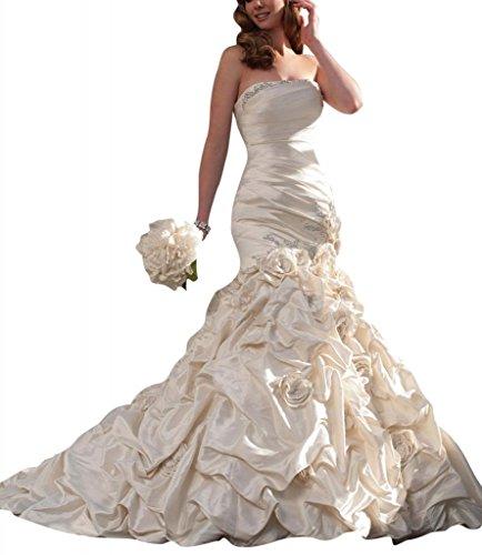 raegerlos BRIDE Kapelle Nixe Hochzeitskleider Brautkleider Zug GEORGE Weiß Taft q5vFd