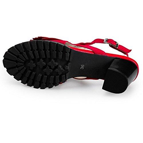 COOLCEPT Damen Mode-Event T-Spangen Sandalen Open Toe Slingback Blockabsatz Schuhe mit Fransen Stiefel Rot