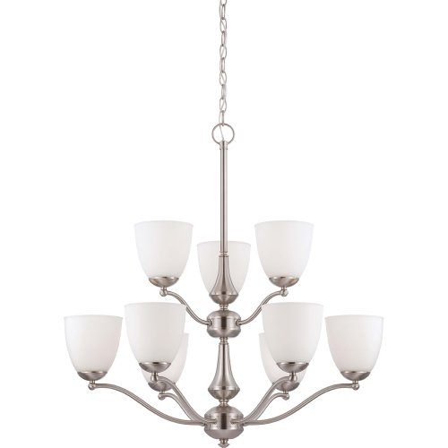 Nuvo Lighting 60/5059 Patton Energy Saving Nine Light Chandelier Bulbs Included Frosted Glass Brushed Nickel Fixture