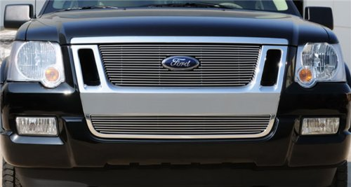2010 Ford Explorer Grill - TRex Grilles 21662 Horizontal Aluminum Polished Finish Billet Grille Overlay for Ford Explorer Sport Trac