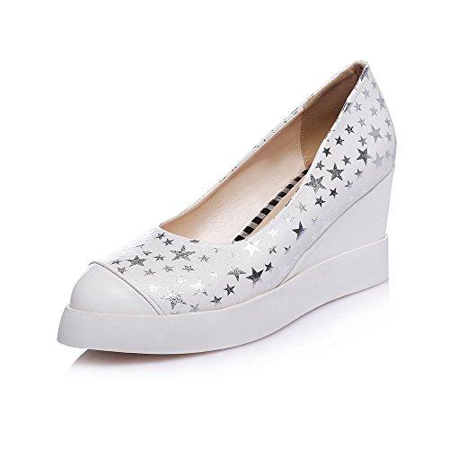 Amoonyfashion Womens Geassorteerde Kleur Hoge Hakken Pull Op Puntige Gesloten Teen Pumps-schoenen Wit