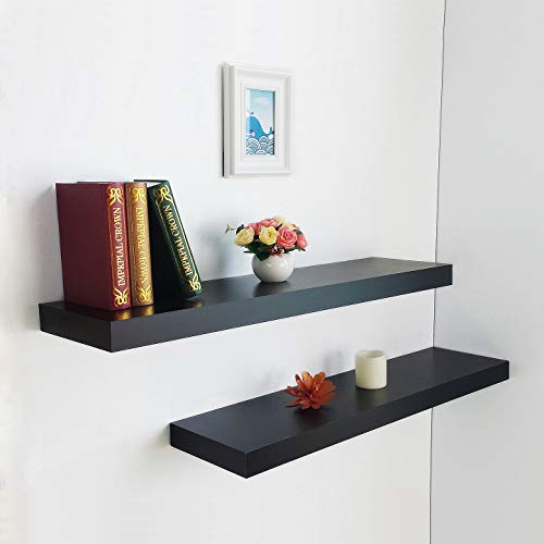 HAO Set of 2 Modern 10 Inch Depth Shelf for The Wall Wood Wall-Mounted Storage Shelf MDF Display Shelving Approx 36