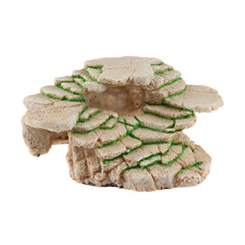 Emours Turtle Basking Platform Shale Rock Den Step Ledge and Gecko Cave Hideout Aquarium Resin Decor, Medium by Emours