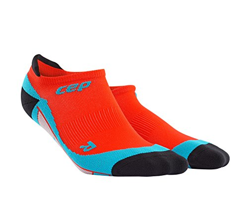 CEP Men's Dynamic+ No-Show Socks  with Compression and Light, Breathable Fit for Cross-Training, Running, Recovery, Tiathletes, and all Endurance and Team Sports, Sunset/Hawaii Blue, (Sunset Over Pikes Peak)