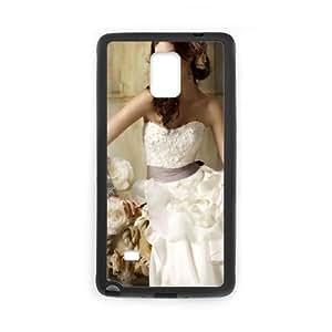 Girl Dress Curvy Brunette Flowers funda Samsung Galaxy Note 4 caja funda del teléfono celular del teléfono celular negro cubierta de la caja funda EEECBCAAJ10990