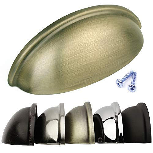 (Brushed Antique Brass Bin Cup Drawer Handle Kitchen Cabinet Pull Hardware - 3 inch (76mm) Hole Centers,)