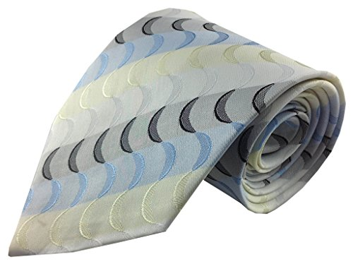 Kailong Men's Tie Blue Yellow and Gray Geometric Stripe Silk ()