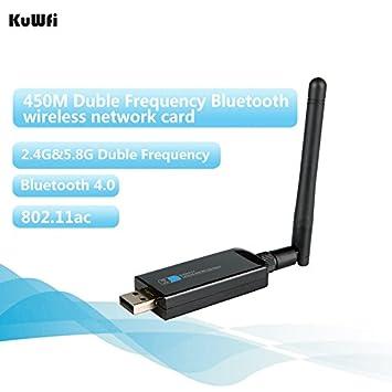 kuwfi 450 Mbps AC Dual Band Wireless USB Tarjeta de red + ...