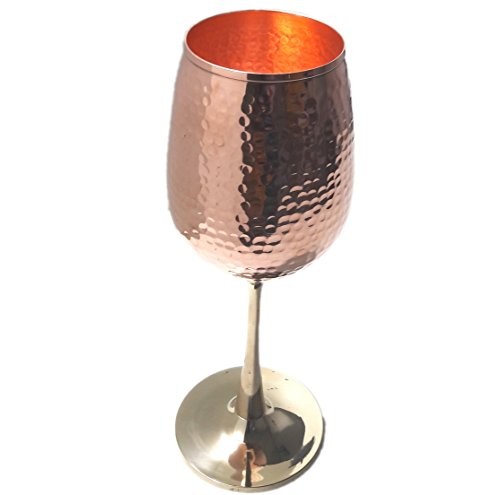 STREET CRAFT Royal Stemless Hand Hammered Copper Wine Goblets and Chalices Capacity 14 Ounce (Stemless Glasses Hammered Wine Copper)