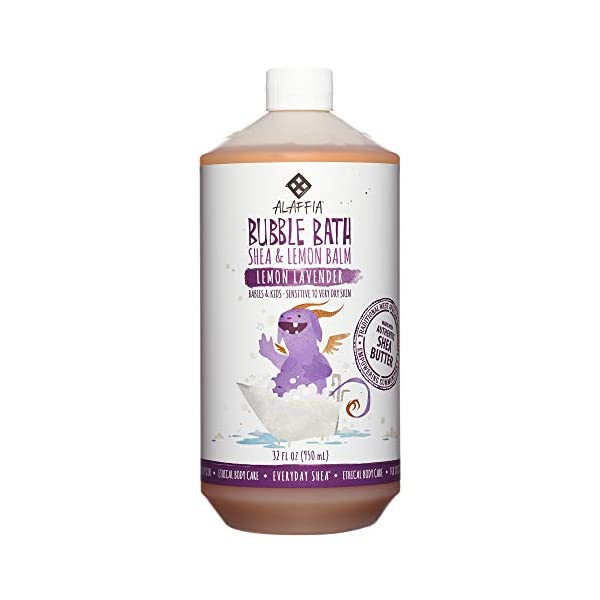 Kerrian Online Fashions 41MuvBILP3L Alaffia Everyday Shea Bubble Bath for Babies & Kids, Gentle for Sensitive to Very Dry Skin Types, Ethically Traded, Non-GMO, Lemon Lavender, 32 Ounces