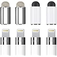 Zspeed [2 in 1] Apple Pencil Magnetic Replacement Cap - Rubber tips and Fiber tips as Stylus for All Touch Screen Tablets/Cell Phones (Pack of 4) (4 Pack)