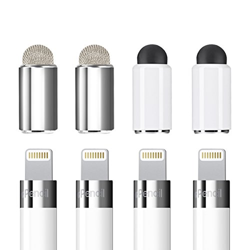 Zspeed [2 in 1] Apple Pencil Magnetic Replacement Cap - Rubber tips and Fiber tips as Stylus for All Touch Screen Tablets/Cell Phones (Pack of 4) (4 Pack) by Zspeed