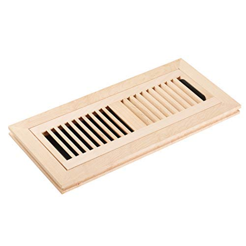 Homewell Maple Wood Floor Register, Flush Mount Vent with Damper, 4x12 Inch, Unfinished ()