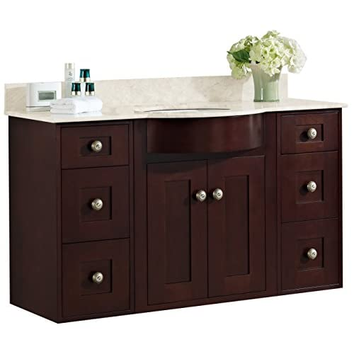 "50%OFF Jade Bath JB-18518 48"" W x 22"" D Transitional Wall Mount Birch Wood-Veneer Vanity Base Set Only, Coffee"