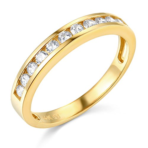 TWJC 14k Yellow Gold Solid Channel Set Wedding Band - Size 6.5 ()