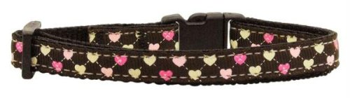 Mirage Pet Products Argyle Hearts Nylon Ribbon Collar for Cat, Brown