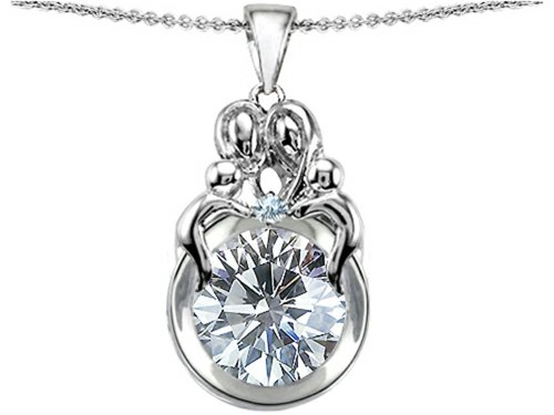 White Topaz Family Pendant - Star K Large Loving Mother and Family Pendant Necklace with Round 10mm Genuine White Topaz