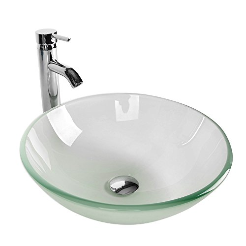 (Tempered Glass Vessel Bathroom Vanity Sink Round Bowl, Chorme Faucet & Pop-up Drain Combo, Frosted Color)