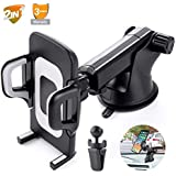 Car Phone Mount Windshield,Dashboard,Air Vent Phone Mount 360°Rotation Holder Cell Phone Holder for Car Universal Car Cradles and Mount Compatible for Samsung Glaxy S8 S9,iPhone 6/7/8 Plus etc