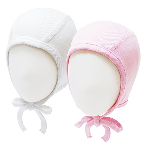 7f333fefc57b0 Happy Tree 2 Pack Baby Hat Bonnet Soft 100% Combed Cotton Toddler Infant  Beanie Pilot Caps, White + Pink, Small - Buy Online in Oman.
