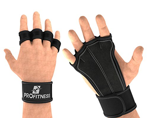ProFitness Leather Padding Cross Training Gloves with Wrist Support for WODs & Gym Workouts Perfect for Men & Women (Black, Medium)