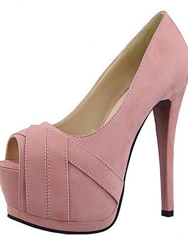 GGX/ Damen-High Heels-Kleid-Wildleder-Stöckelabsatz-Absätze / Spitzschuh / Vorne offener Schuh-Schwarz / Rosa / Lila / Rot / Grau purple-us6.5-7 / eu37 / uk4.5-5 / cn37