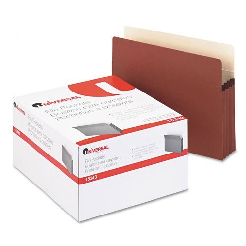 Universal : 3 1/2 Expansion File Pockets, Straight, Redrope/Manila, Letter, Redrope, 25/Pk -:- Sold as 2 Packs of - 25 - / - Total of 50 Each by Universal