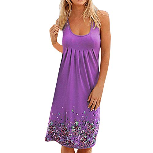 - TnaIolral Women Summer Dresses Sleeveless Evening Party Beach Skirt Purple