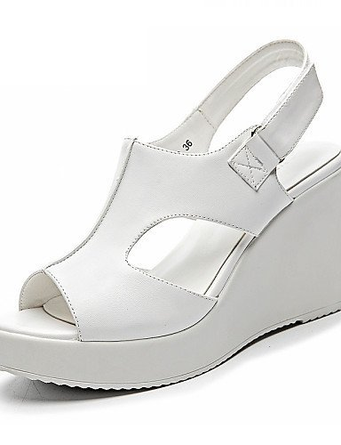 ShangYi Womens Shoes Leatherette Wedge Heel Wedges / Peep Toe Sandals Office & Career / Party & Evening / Dress Black / White Black
